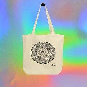 Rose Mandala tote bag by artist Tesoro Carolina